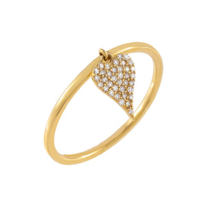 14K Gold / 7 Diamond Heart Charm Ring 14K - Adina's Jewels