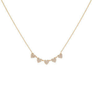 14K Gold Diamond Multi Heart Necklace 14K - Adina's Jewels