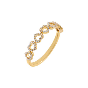 14K Gold / 6 Diamond Pavé Open Heart Band Ring 14K - Adina's Jewels