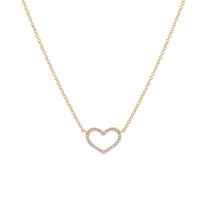 Gold Diamond Open Heart Necklace 14K - Adina's Jewels
