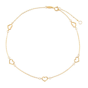 14K Gold Open Heart Anklet 14K - Adina's Jewels