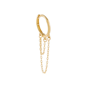 14K Gold / Single Thin Solid Double Chain Cartilage Huggie Earring 14K - Adina's Jewels