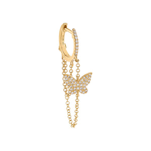 14K Gold / Single Diamond Butterfly Chain Huggie Earring 14K - Adina's Jewels