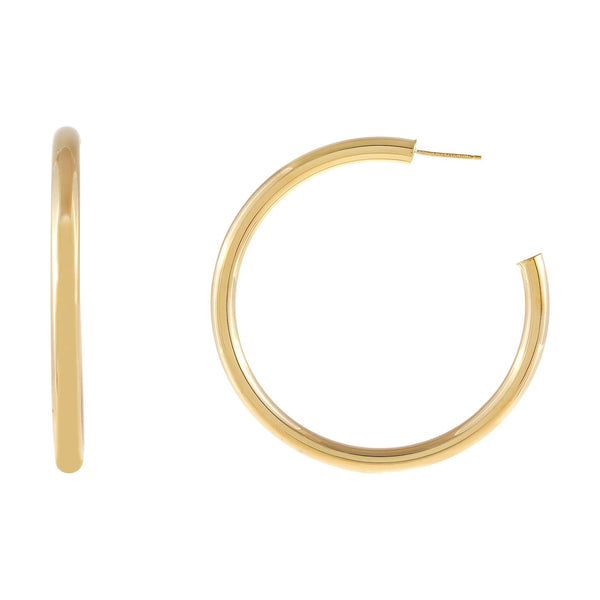 14K Gold / 50 MM Thin Hollow Hoop Earring 14K - Adina's Jewels