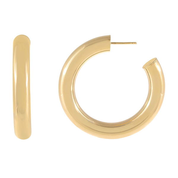 Thick Hollow Hoop Earring 14K - Adina's Jewels