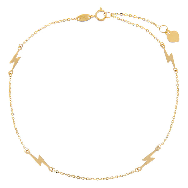 14K Gold Lightning Anklet 14K - Adina's Jewels
