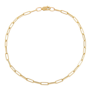 14K Gold Medium Paperclip Anklet 14K - Adina's Jewels