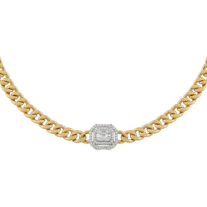 14K Gold Diamond Double Illusion X Miami Cuban Chain Choker 14K - Adina's Jewels