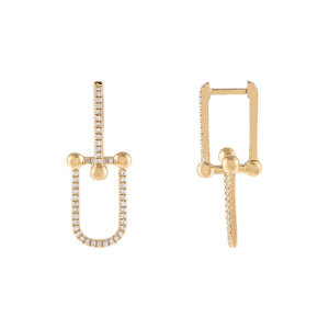 14K Gold Diamond Pavé U Chain Huggie Earring 14K - Adina's Jewels