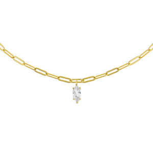 Gold CZ Teardrop Link Necklace - Adina's Jewels