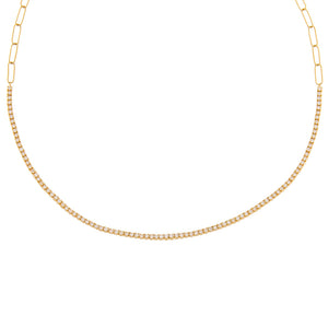 14K Gold Diamond Tennis X Link Necklace 14K - Adina's Jewels