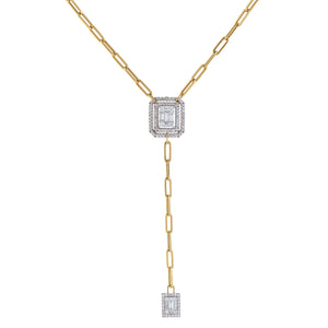 14K Gold Diamond Illusion Paperclip Chain Lariat 14K - Adina's Jewels