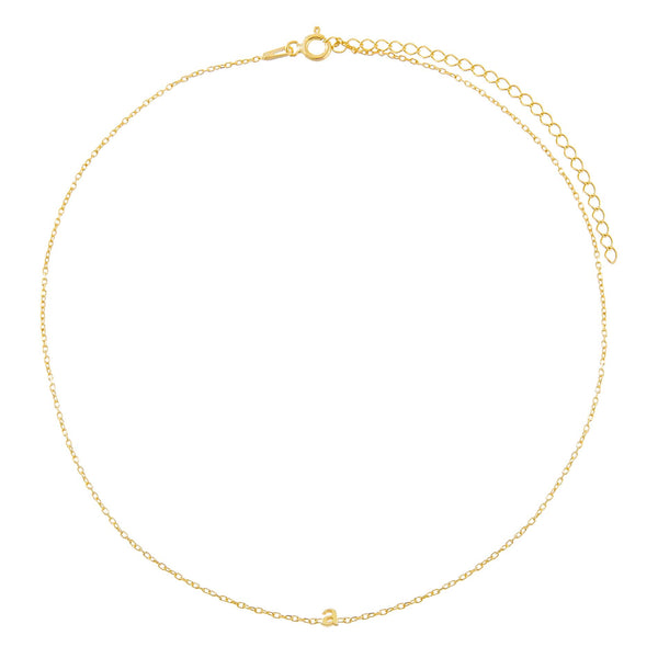 Tiny Solid Lowercase Initial Choker - Adina's Jewels