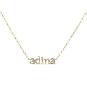 14K Gold / 2-3 Diamond Lowercase Nameplate Necklace 14K - Adina's Jewels