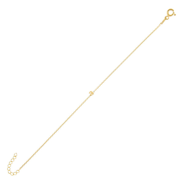 Gold / A Tiny Solid Lowercase Initial Bracelet - Adina's Jewels
