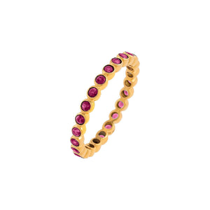 Magenta / 6 Diamond Colored Bezel Ring 14K - Adina's Jewels