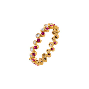 Magenta / 7 Diamond Colored Double Row Bezel Ring 14K - Adina's Jewels