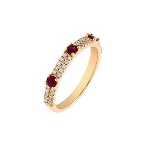 Magenta / 7 Diamond Colored Solitaire Band 14K - Adina's Jewels
