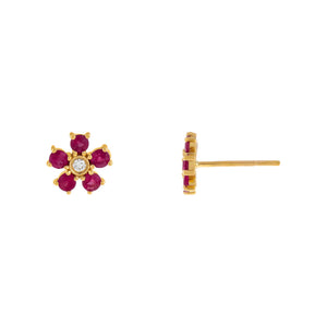 Magenta Diamond Ruby Flower Stud Earring 14K - Adina's Jewels
