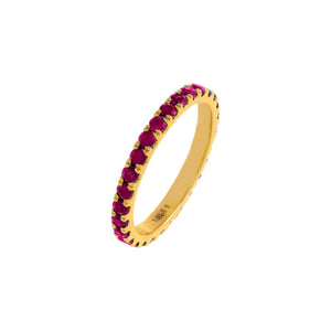 Magenta / 5.5 Diamond Thin Colored Band 14K - Adina's Jewels
