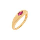 Magenta / 6.5 Diamond Colored Marquise Dome Ring 14K - Adina's Jewels
