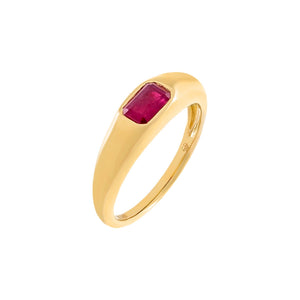 Magenta / 6.5 Diamond Colored Baguette Dome Ring 14K - Adina's Jewels