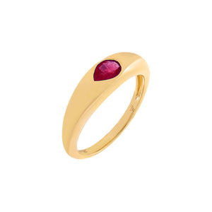 Magenta / 6.5 Diamond Colored Teardrop Dome Ring 14K - Adina's Jewels