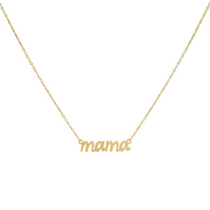 14K Gold Lowercase Mama Script Nameplate Necklace 14K - Adina's Jewels