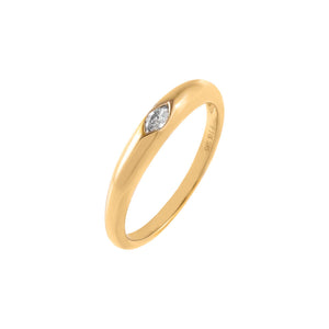 14K Gold / 6.5 Diamond Marquise Dome Ring 14K - Adina's Jewels