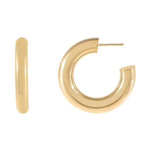 14K Gold / 30 MM Thick Hoop Earring 14K - Adina's Jewels