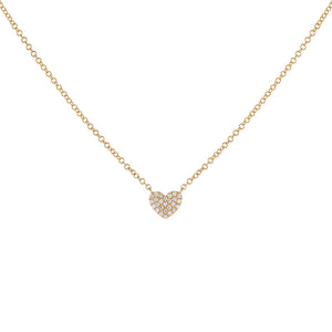 14K Gold Mini Pavé Diamond Heart Necklace 14K - Adina's Jewels