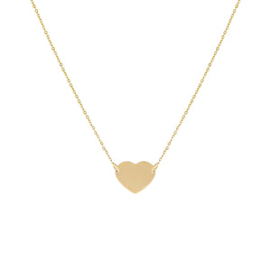 14K Gold Engravable Heart Necklace 14K - Adina's Jewels