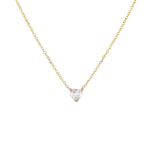 14K Gold Diamond Mini Heart Necklace 14K - Adina's Jewels