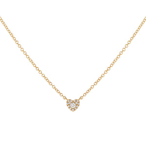 14K Gold Tiny Diamond Heart Necklace 14K - Adina's Jewels