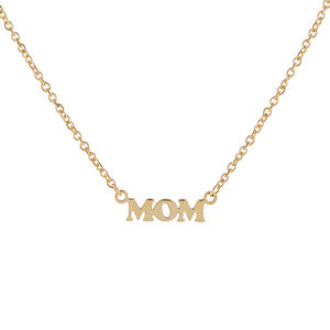 14K Gold Mini Mom Nameplate Necklace 14K - Adina's Jewels