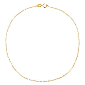 14K Gold Flat Wheat Chain Anklet 14K - Adina's Jewels