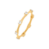 14K Gold / 6.5 Diamond Bamboo Ring 14K - Adina's Jewels