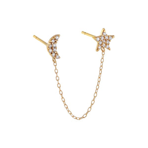 14K Gold / Single Pavé Moon X Star Chain Stud Earring 14K - Adina's Jewels