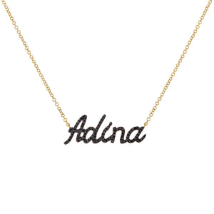 Onyx / 2-3 Diamond Onyx Script Name Necklace 14K - Adina's Jewels