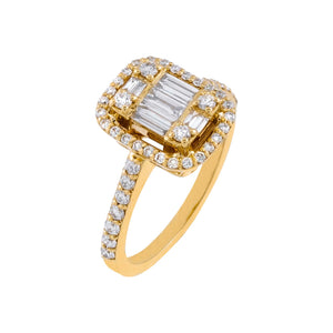 14K Gold / 6 Diamond Illusion Baguette Ring 14K - Adina's Jewels