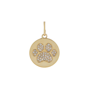 14K Gold Diamond Paw Print Charm 14K - Adina's Jewels