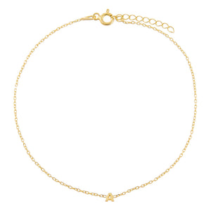 Gold / A Tiny Solid Uppercase Initial Anklet - Adina's Jewels