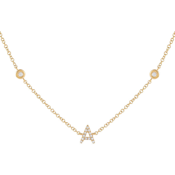 14K Gold Diamond Initial Bezel Choker 14K - Adina's Jewels