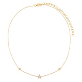 Diamond Initial Bezel Choker 14K - Adina's Jewels