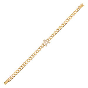 14K Gold Diamond Initial Cuban Bracelet 14K - Adina's Jewels