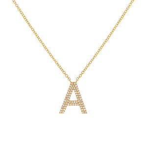 14K Gold Diamond Double Pavé Initial Necklace 14K - Adina's Jewels