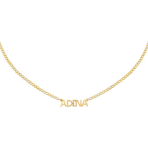 14K Gold / 1 Mini Nameplate Choker 14K - Adina's Jewels