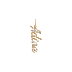 14K Gold / 2-3 Diamond Script Name Charm 14K - Adina's Jewels