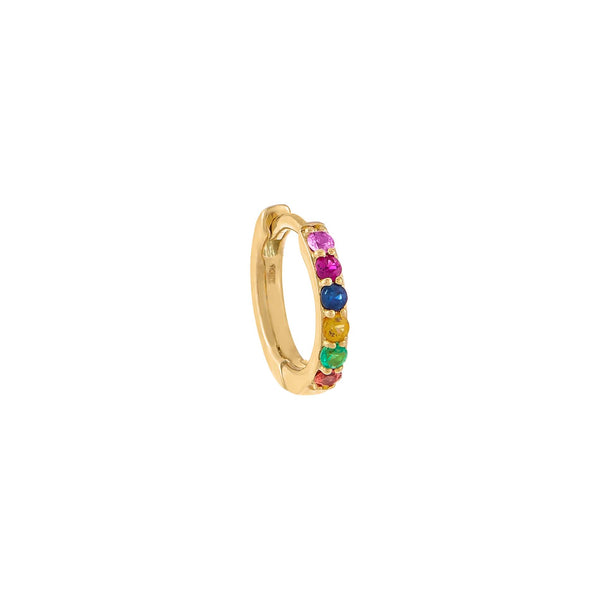 Multi-Color / Single Diamond Mini Rainbow Huggie Earring 14K - Adina's Jewels