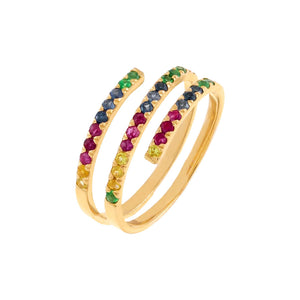 Diamond Rainbow Wrap Ring 14K